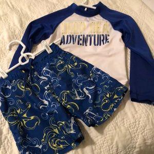 Boys Gymboree Rashguard & Swim Trunks